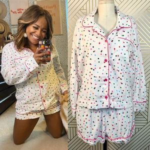 Bando Party Dots Two-Piece Pajama Shorts Set